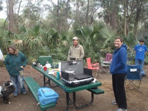Susan, Ken and Anna during one of Ken's tasty breakfast' at the Juniper Springs Campground