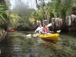 Matt and Austin pluggin' down clear and shallow Juniper Springs