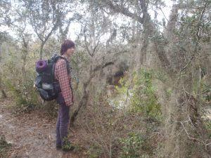 Alyssa on a bluff overlooking Livingston Creek