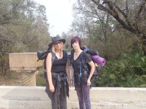 Margo and Alyssa on Rucks Dairy Road overlooking Livingston Creek
