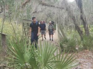 Robert, Howard and Andres crossing the bridge over Reedy Creek