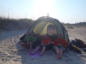 Cal, Mike and Eric enjoyed conservation at our last back country beach site