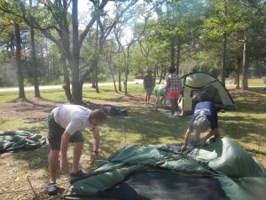 Setting up tents in base camp
