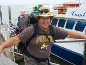 Dan exiting the ferry at Sea Camp
