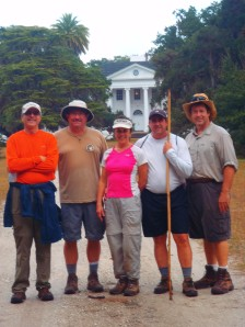 Jusat love those misty rainy days on the trail....Barry, Howard, Cheryl, Butch and Dan in front of Plum Orchard