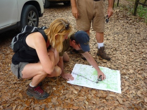 Andy and Margo look over a USGS topographic map